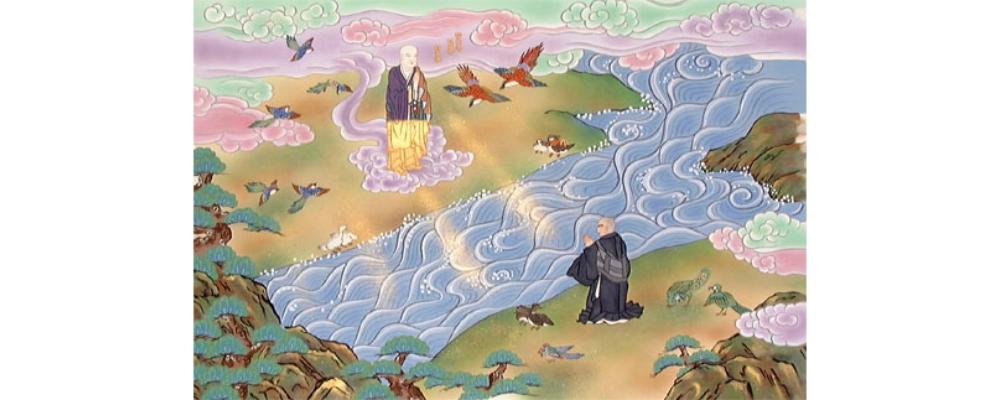 二祖対面~幻想的に描かれた美術工芸壁掛~
